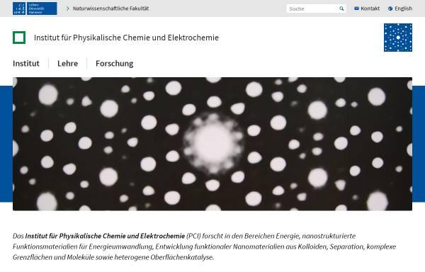 Vorschau von www.pci.uni-hannover.de, Institut für Physikalische Chemie und Elektrochemie