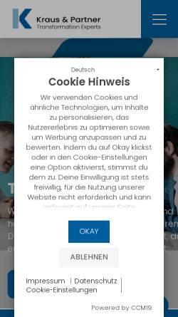 Vorschau der mobilen Webseite www.kraus-und-partner.de, Unternehmensberatung