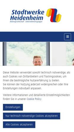 Vorschau der mobilen Webseite www.stadtwerke-heidenheim.de, Stadtwerke Heidenheim AG