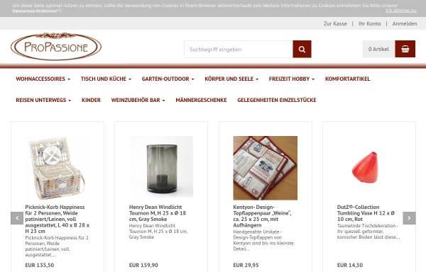Vorschau von www.propassione.de, ProPassione GmbH - Accessoires zum Wohnen und Wohlfühlen