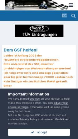 Vorschau der mobilen Webseite www.germanscooterforum.de, German Scooter Forum