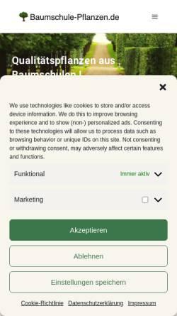 Vorschau der mobilen Webseite www.baumschule-pflanzen.de, Pflanzen für Haus & Garten online finden, bestellen & einkaufen