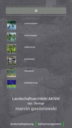 Vorschau der mobilen Webseite www.marcin-gasiorowski.de, Landschaftsarchitekturbüro Gasiorowski
