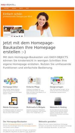Vorschau der mobilen Webseite www.easy-objects.de, EASY-OBJECTS: CMS + Shopsystem + Online Datenbank