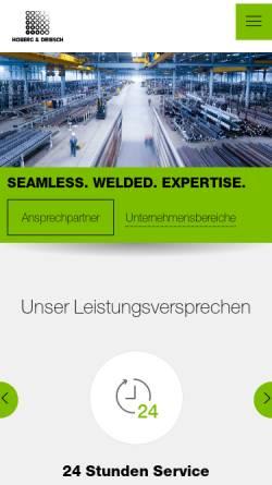 Vorschau der mobilen Webseite www.hoberg-driesch.de, Hobert & Driesch - Stahlrohrgrosshandel