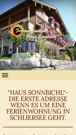 Vorschau der mobilen Webseite www.haus-sonnbichl.com, Haus Sonnbichl in Bayern