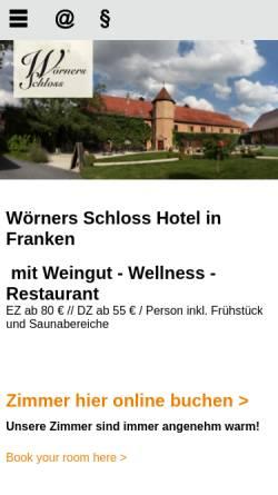 Vorschau der mobilen Webseite www.woerners-schloss.de, Wörners Schloss Weingut & Hotel Franken