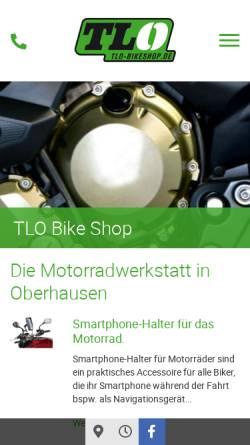 Vorschau der mobilen Webseite www.tlo-bikeshop.de, TLO-BikeShop - Motorradteile und Zubehör