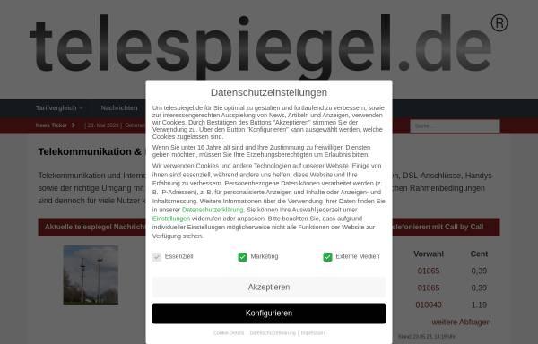 Vorschau von www.telespiegel.de, Telespiegel.de - Onlinemagazin für Telekommunikation und Internet