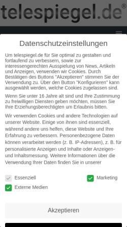 Vorschau der mobilen Webseite www.telespiegel.de, Telespiegel.de - Onlinemagazin für Telekommunikation und Internet