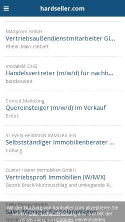 Vorschau der mobilen Webseite www.hardseller.com, hardseller.com – Jobbörse für Vertrieb und Marketing
