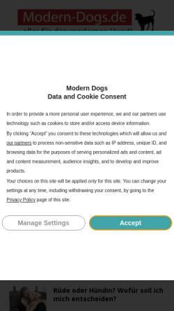Vorschau der mobilen Webseite www.modern-dogs.de, modern dogs