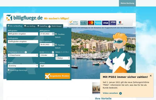 Vorschau von www.billigfluege.de, billigfluege.de