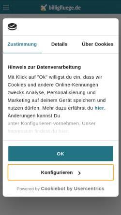 Vorschau der mobilen Webseite www.billigfluege.de, billigfluege.de