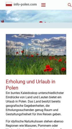 Vorschau der mobilen Webseite www.info-polen.com, Polen