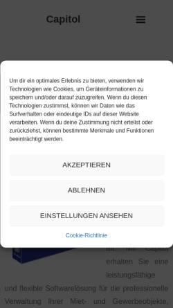 Vorschau der mobilen Webseite www.capitol-classic.de, Software zur Immobilienverwaltung
