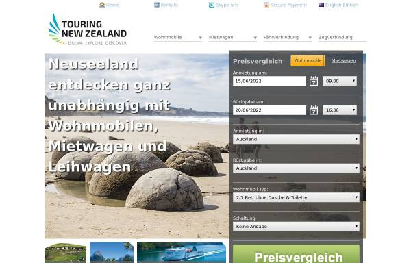 Vorschau von www.touring-newzealand.de, Touring New Zealand