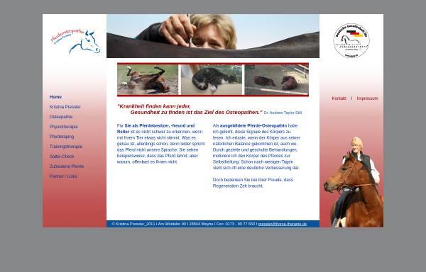 Vorschau von www.horse-therapie.de, Osteopathie für Pferde - Diplom Pferdetherapeutin Kristina Pressler