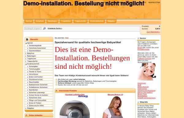 Vorschau von www.kiddys-kinderkarussell.de, Online Shop für Babybekleidung und Babysicherheit