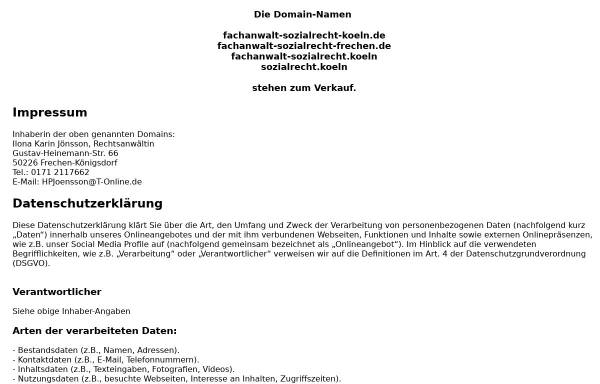Vorschau von www.fachanwalt-sozialrecht-koeln.de, Ilona K. Jönsson, Fachanwältin für Sozialrecht, Köln