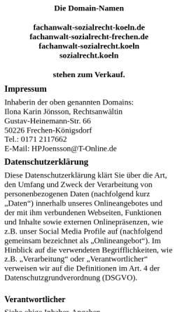 Vorschau der mobilen Webseite www.fachanwalt-sozialrecht-koeln.de, Ilona K. Jönsson, Fachanwältin für Sozialrecht, Köln
