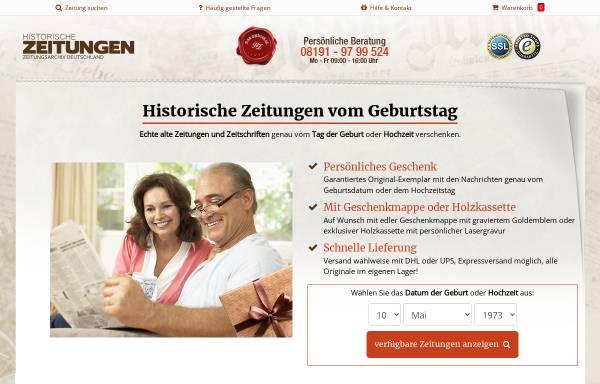 Vorschau von www.historische-zeitungen.de, Alte Zeitungen - Die Geschenkidee - Zeitungsarchiv Deutschland