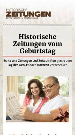 Vorschau der mobilen Webseite www.historische-zeitungen.de, Alte Zeitungen - Die Geschenkidee - Zeitungsarchiv Deutschland