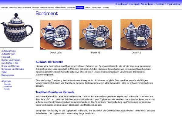 Vorschau von www.bunzlauerkeramikladen.de, Bunzlauer Keramik Laden München