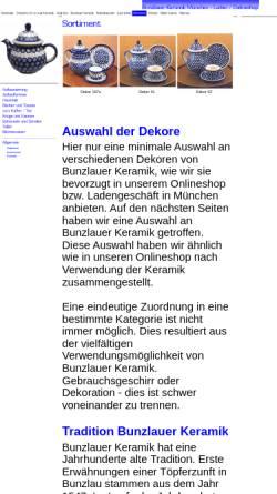 Vorschau der mobilen Webseite www.bunzlauerkeramikladen.de, Bunzlauer Keramik Laden München