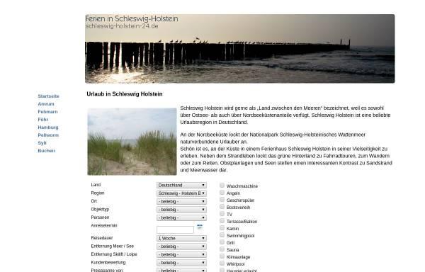 Vorschau von www.schleswig-holstein-24.de, Ferienunterkünfte in Schleswig-Holstein