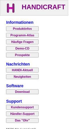 Vorschau der mobilen Webseite www.handicraft.de, MCDS Nils Seidel GmbH