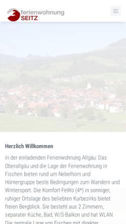Vorschau der mobilen Webseite www.fischen-fewo.de, Ferienwohnung in Allgäu, Oberstdorf / Fischen