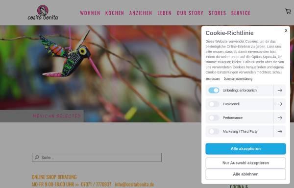 Vorschau von www.cositabonita.de, cositabonita.de - Lifestyle, Kitsch und neue Trends aus Mexiko