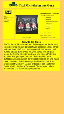 Vorschau der mobilen Webseite www.taxigera.de, Taxi Michelsohn aus Gera