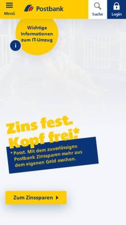 Vorschau der mobilen Webseite www.postbank.de, Deutsche Postbank