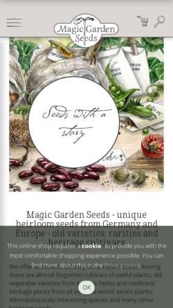 Vorschau der mobilen Webseite www.magicgardenseeds.com, Magicgardenseeds Saatgut