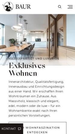 Vorschau der mobilen Webseite www.baur-wohnfaszination.de, Exklusiver Innenausbau im Landhausstil