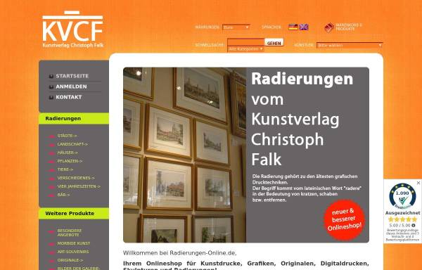 Vorschau von www.radierungen-online.de, Kunstverlag Christoph Falk - Radierungen