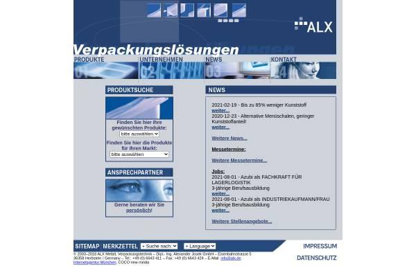 Vorschau von alx.de, ALX Metall, Verpackungstechnik GmbH
