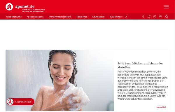 Vorschau von www.aponet.de, Gesundheitsportal / Apotheke