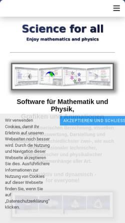 Vorschau der mobilen Webseite www.mathprof.de, Physik-Programm für Schüler, Studenten und Lehrer