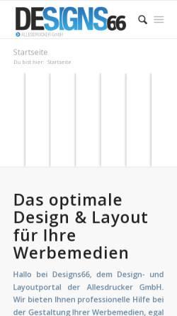 Vorschau der mobilen Webseite www.designs66.de, DESIGNS66