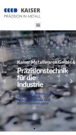 Vorschau der mobilen Webseite bischoff-metallwaren.de, Kaiser Metallwarenfabrik - Präzisionsdrehteile aus Messing und Aluminium
