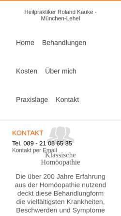 Vorschau der mobilen Webseite www.homoeopathie-miasmatik.de, Praxis für klassische Homöopathie und Elektroakupunktur-Diagnostik