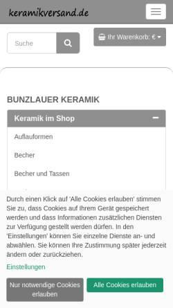Vorschau der mobilen Webseite www.keramikversand.de, Bunzlauer Keramik - Keramikversand.de