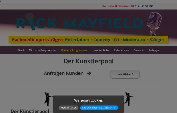Vorschau von www.a-and-a-artist-agency.de, a and a - Ihre Kuenstlervermittlungsagentur