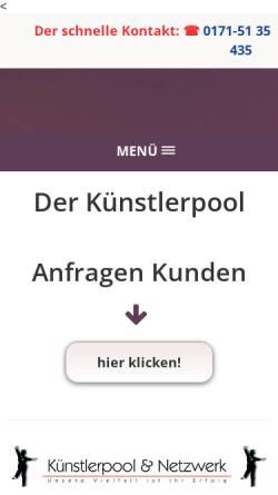 Vorschau der mobilen Webseite www.a-and-a-artist-agency.de, a and a - Ihre Kuenstlervermittlungsagentur