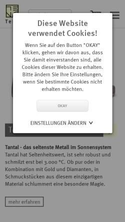 Vorschau der mobilen Webseite www.teno.de, TeNo Schmuck