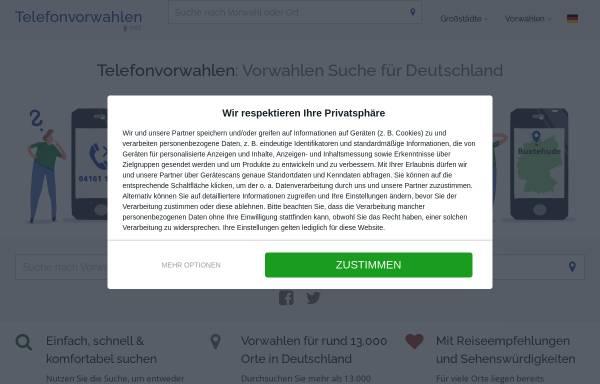 Vorschau von www.telefonvorwahlen.net, Nachschlagewerk für Vorwahlen in Deutschland