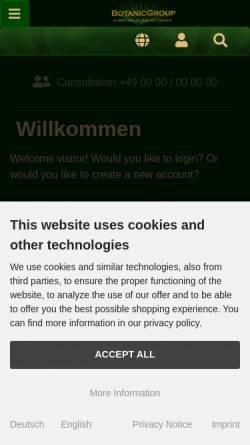 Vorschau der mobilen Webseite www.botanicgroup.com, BotanicGroup.de